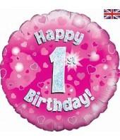 """1st Birthday Pink Flower 18"""" Balloon"""