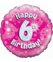 6th Pink Birthday Balloon