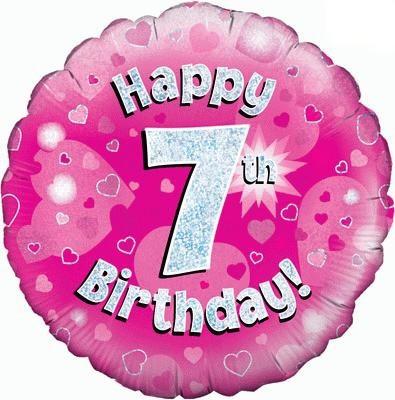 Happy 7th Birthday Pink Balloon