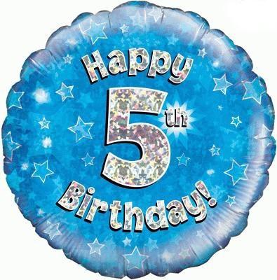 Blue 5th Birthday Balloon