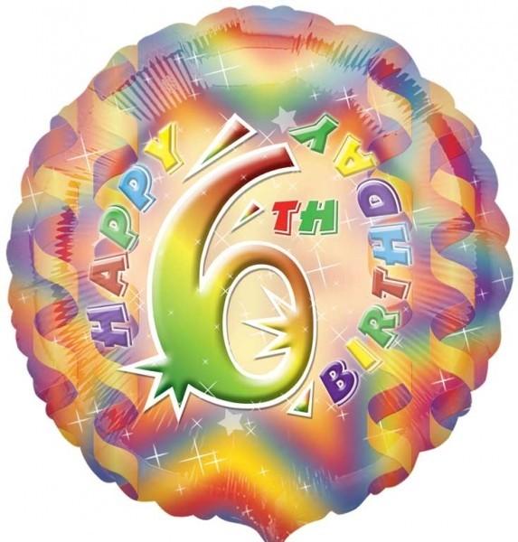 Multi Coloured 6th Birthday Balloon