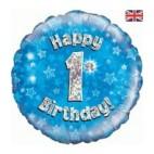 """1st Birthday Blue Flower 18"""" Balloon"""