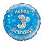 Blue 3rd Birthday Balloon
