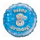 Blue 8th Birthday Balloon