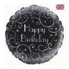 Black and Silver Birthday Balloon