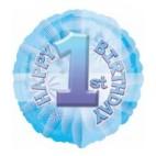"""1st Birthday Blue Textured 18"""" Balloon"""