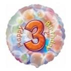 Multi Coloured 3rd Birthday Balloon