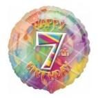 Multi Coloured 7th Birthday Balloon