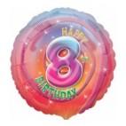 Multi Coloured 8th Birthday Balloon