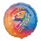 Multi Coloured 9th Birthday Balloon