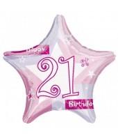21st Birthday Pink Shimmer Balloon