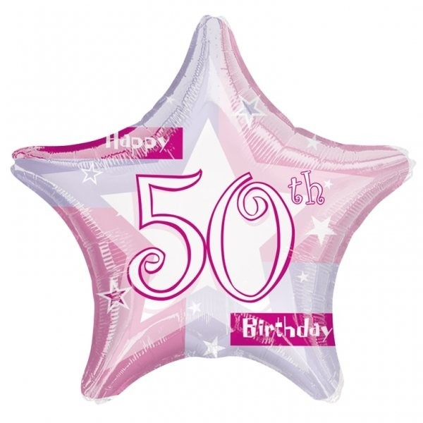 50th Birthday Pink Shimmer Balloon
