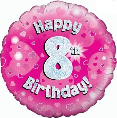 Pink 8th Birthday Balloon