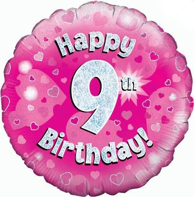 Pink 9th Birthday Balloon