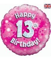13th Pink Birthday Balloon