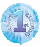 "1st Birthday Blue Textured 18"" Balloon"
