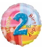Multi Coloured 2nd Birthday Balloon