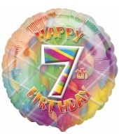 Multi Coloured 7th Birthday Balloon