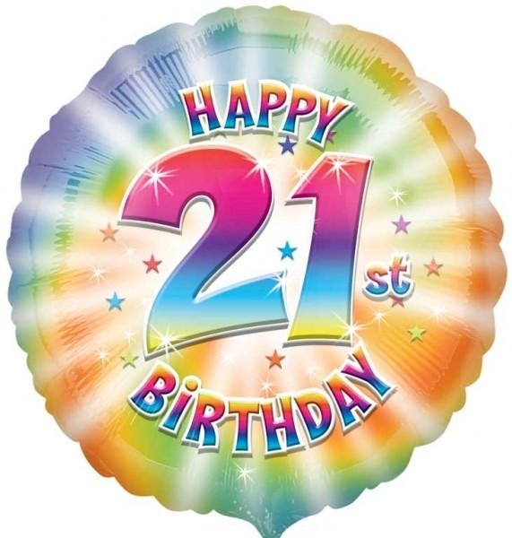 Multi Coloured 21st Birthday Balloon