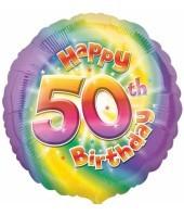 Multi Coloured 50th Birthday Balloon