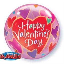 Valentines Day Bubble Balloon - Colourful Hearts