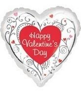 Happy Valentines Day - Silver Swirls & Hearts