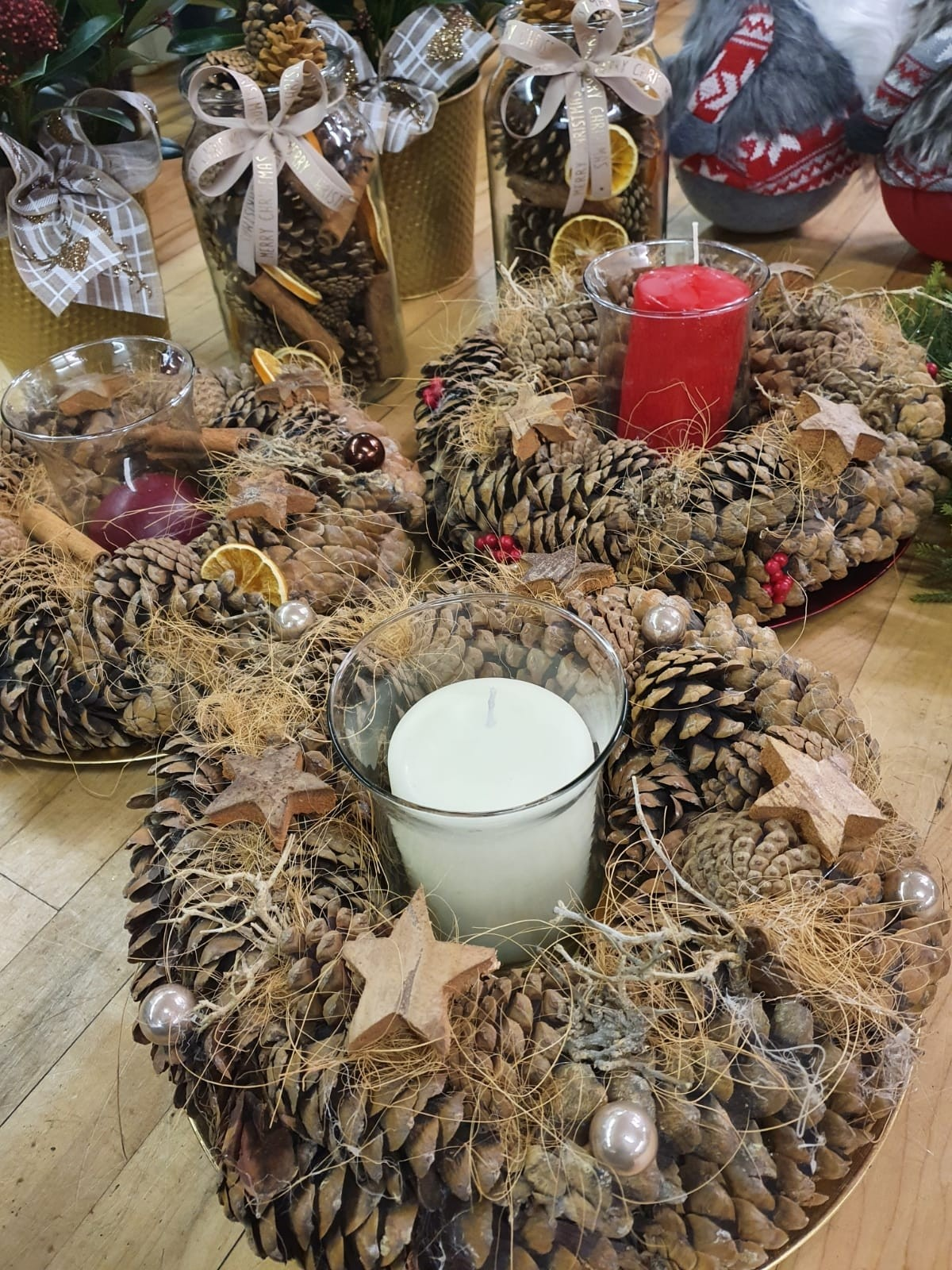 Pine Cone Candle Arrangement