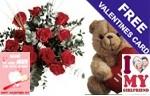 12 Roses & Teddy Bear